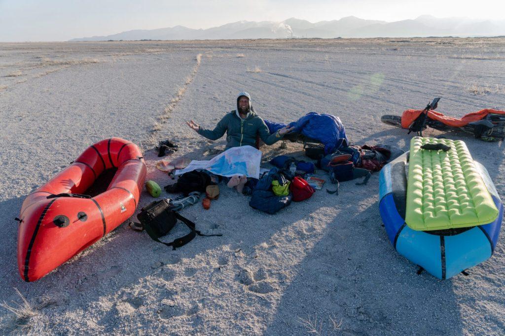 Andrew Burr on a bikeraft circumnavigation of the Great Salt Lake.