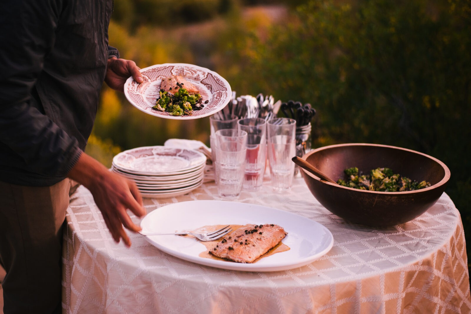 catered dinner at scullbinder ranch