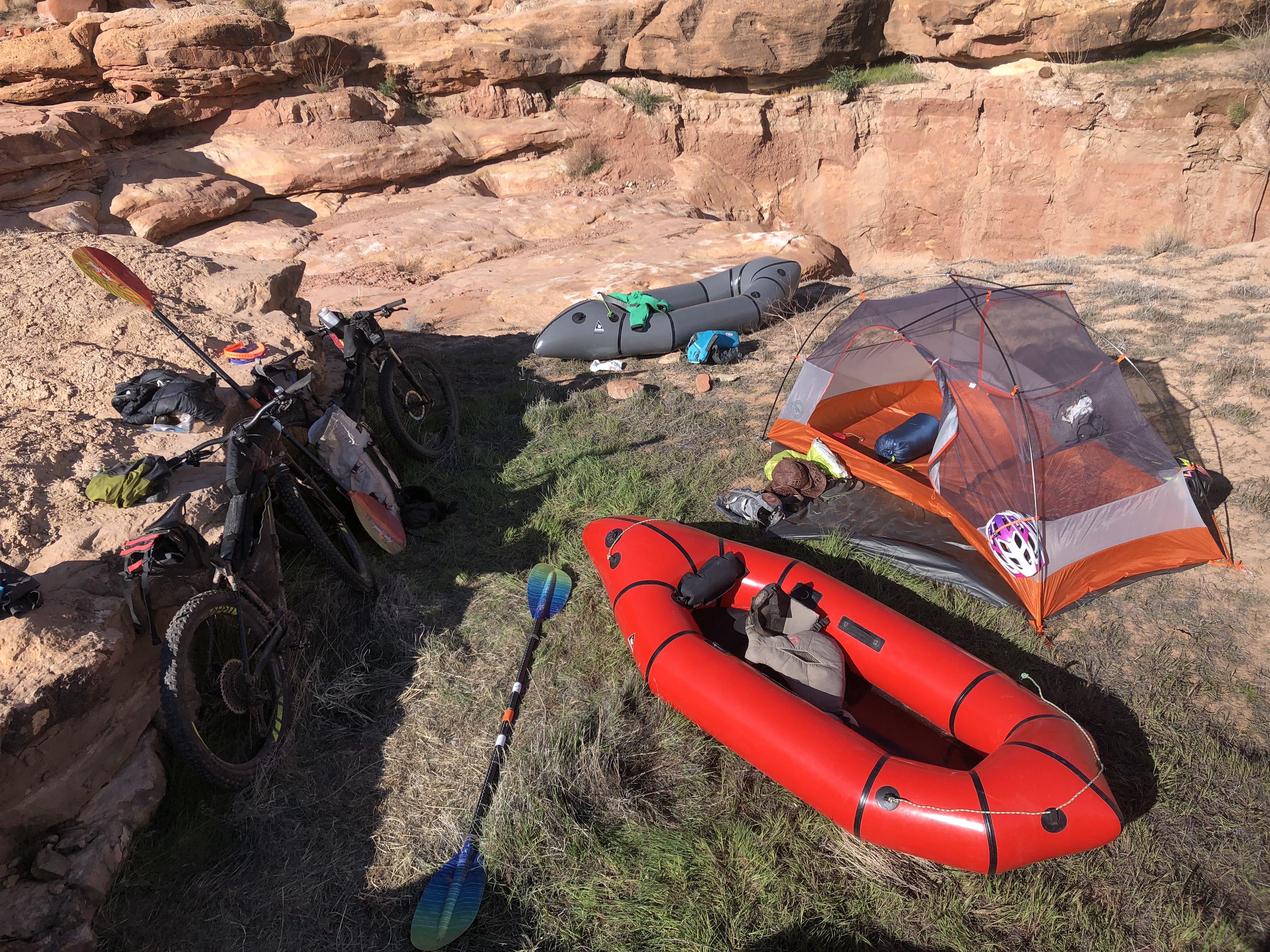 The bikeraft kit for a two-day Southern Utah adventure.