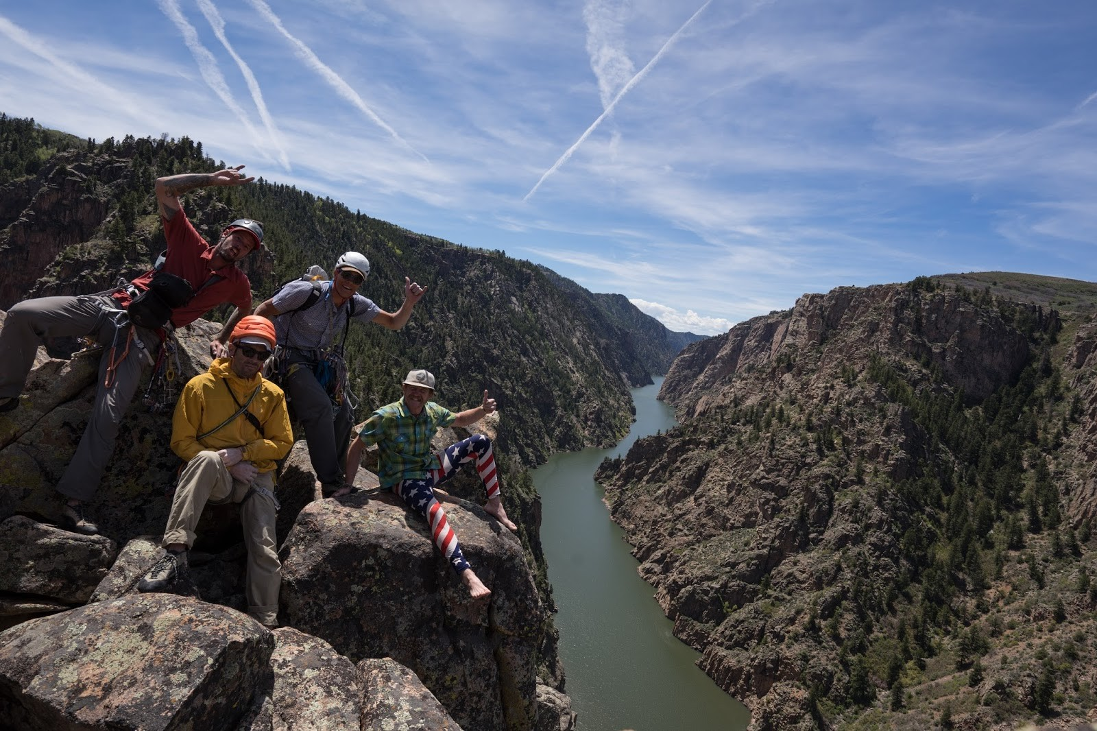 The crew at the top of the Curecanti Needle: A Packraft Trip