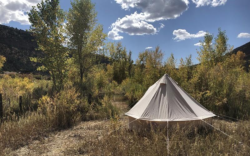 Glamping tent at Scullbinder Ranch.