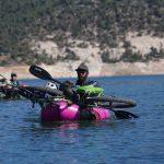 Bikerafting McPhee Reservoir. Tracy Brown on his first bikeraft adventure.