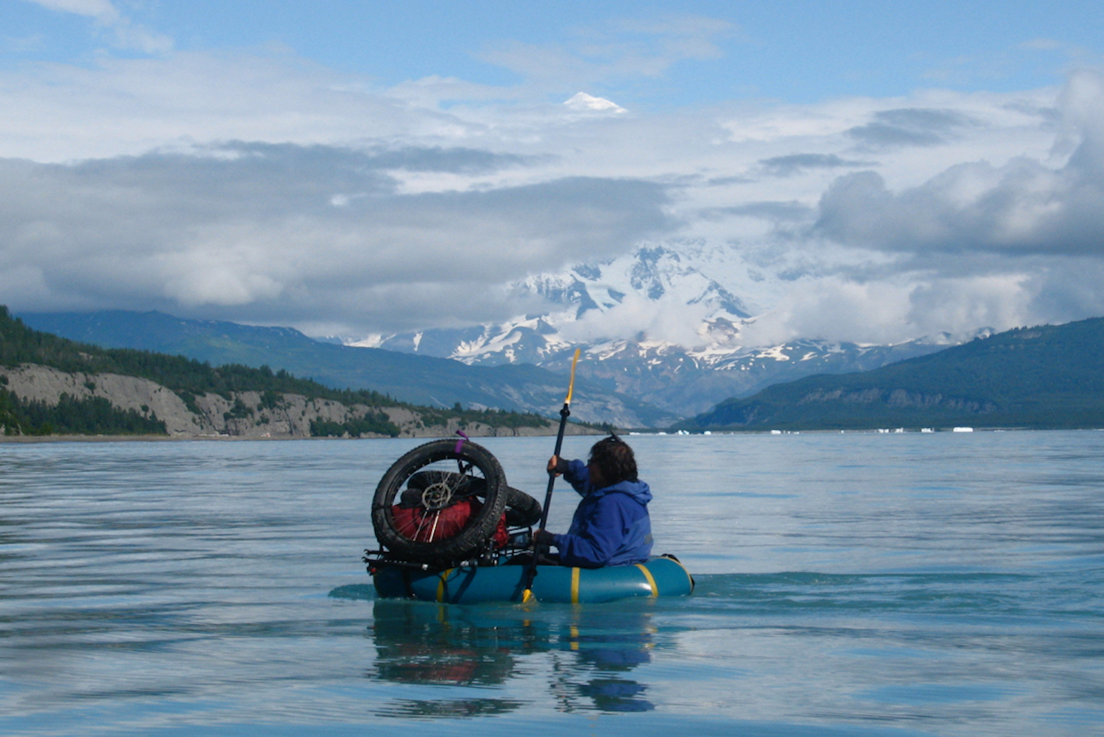 11 Eric Parsons - Dylan Kentch paddling across Icy Bay (Mt. St Elias in the back) August 2008.jpg