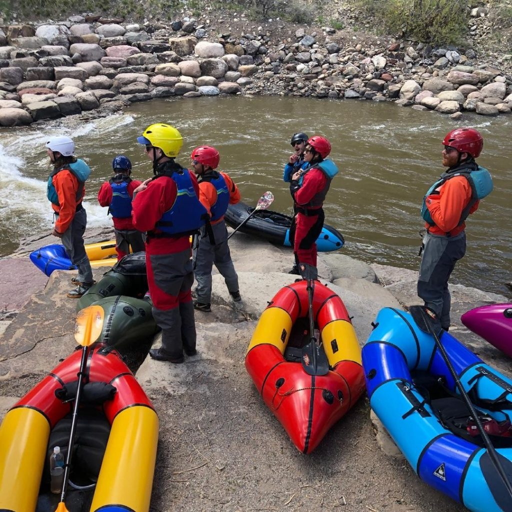The GAIA Group Corporate Retreat day 1 on, learning to packraft on the Animas River.