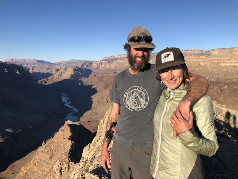 Doom (fully bearded) and Lizzy in the Grand Canyon after a 12-day, self-supported packraft trip.