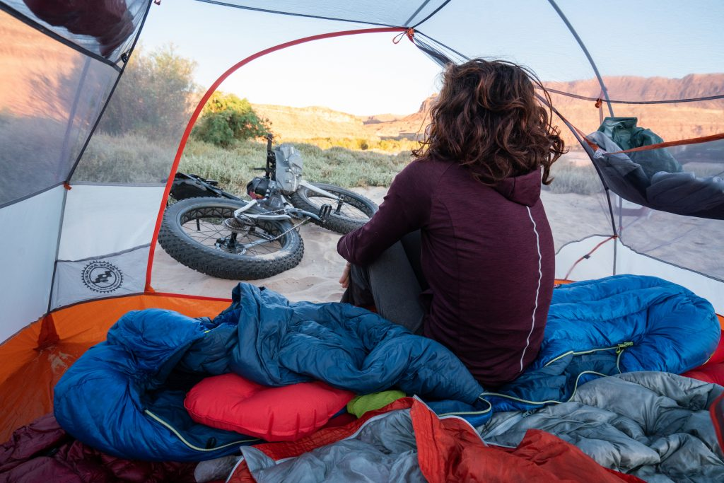 Lizzy Scully in her Big Agnes tent - Bikeraft kit.